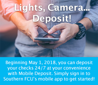 Beginning 5-1-18, you can deposit your checks with Mobile Deposit. Sign in to our mobile app to get started!